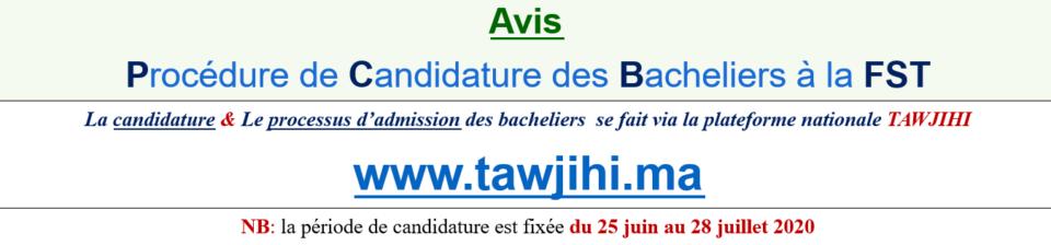 Avis - Procédure de Candidature des Bacheliers à la FST