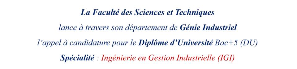 Appel à candidature au Diplôme d'Université : DU-IGI.