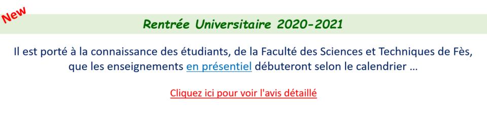Rentrée Universitaire 2020-2021