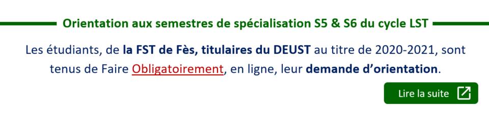 Orientation aux semestres de spécialisation S5 & S6 du cycle LST