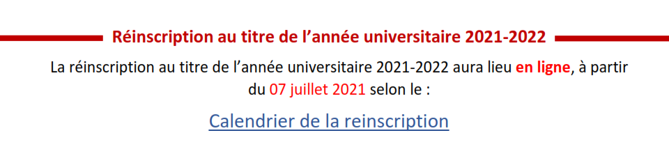 Réinscription au titre de l'année universitaire 2021-2022